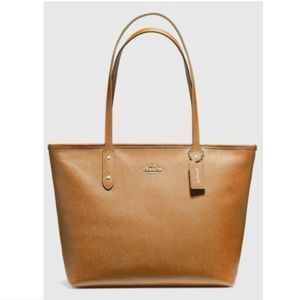 Coach City Zip Tote Bag ~ Light Saddle Leather
